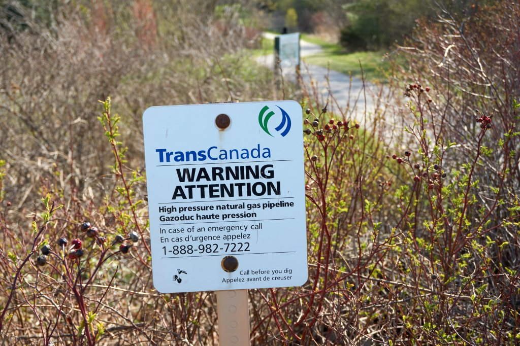 A TransCanada warning sign of buried natural gas pipeline